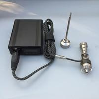 mini-serpentina venda por atacado-Caixa de controlador de temperatura eletrônico mini aquecedor portátil mini dab prego com titânio nai Quartzo prato bobina aquecedor para tubo de água de vidro
