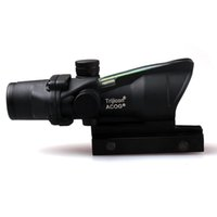 Wholesale 4x32 Rifle Scope - ACOG 4X32 Style Optical Tactical Scope Real Fiber Optic Red Crosshair Real Red or Green Fiber Source Duel Illuminated Rifle Scope