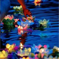 ingrosso lampade decorative di loto-30pcs / lot Candele di San Valentino Lanterne Matrimoni Wishing Acqua Fiore Acqua Lanterna galleggiante Fiore di loto Ornamento lampada