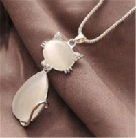 Wholesale Cat Eye Green Necklace - Fashion Korean Version of the Cat's Eye Cute Cat Shaped Necklace for Woman Sweater Chain Jewelry Accessory Wholesale