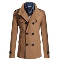 ingrosso cappotti di lana caldo-All'ingrosso- Vendita calda Trench Coat doppio petto British Style Cashmere Mens Trench Cappotto di lana di alta qualità lungo cappotto