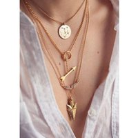 Wholesale Multilayer Statement - Multilayer necklace collar Necklaces & Pendants costume long statement Necklaces for women Gold plated Pendants Necklaces Best Gift