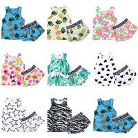Wholesale Girl Boxers Shorts - INS Summer Kids Printed Pineapple Vest+Short Pant Sets Boys Girls Short Sleeve Clothing Suits Flower Boxers