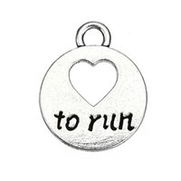 Wholesale Wholesale Silver Message Jewelry - Fashion Jewelry Love to Run Round Charm Word Letter Message Charms Zinc Alloy Silver Plated Accessory Pendant For Bracelet & Necklace
