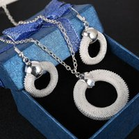 Wholesale Chunky Rings Women - Fashion Round Ring Shape Choker Necklace Chunky Statement Chain Necklace Earrings Silver Plated Jewelry Sets For Women Giftd