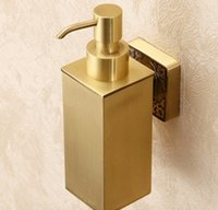 Wholesale Bathroom Wall Soap Dispenser - New Wall Mount Bathroom Solid Brass Soap Dispenser Square Shape Liquid Soap Box LLFA