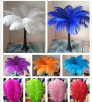 Wholesale beautiful christmas decorations - 14-16inch Ostrich Feather Plumes for Wedding Centerpiece Table Party Desktop decoration beautiful feathers DIY Party Decorative KKA3093
