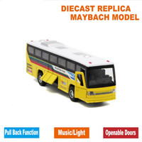Wholesale Diecast Bus Toy - 18.5cm Length Diecast Kids Toys Bus Model, Car With Openable Doors Pull Back Function Light Sound Gift Box  For Children As Gift