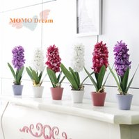 Wholesale Silk Hyacinth Flowers - 1pcs Potted hyacinth artificial flowers silk flower 3 color options Home Decoration