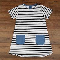 Wholesale Girls Denim Blouses - Hooyi Summer Girls Dress Clothes Children Jean Denim Dresses Stripe Girl Jumpers Blouse 100% Cotton Kids Clothing Outfit 2-7Year
