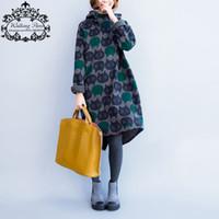 vestidos de gato para mulheres venda por atacado-Plus Size Mulheres Hoodies Moletons Inverno Espessamento Quente de Algodão Moda Feminina Gato Imprimir Tamanho Grande Casual Vestido de Gola Alta