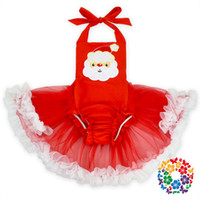 baby tutu romper red UK - Baby Lace Christmas Santa Claus Romper Tutu Ruffles Rompers Halter Red Color Summer Cute Toddler Girls Holiday Clothes