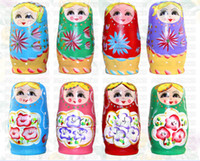 Wholesale Russian Wooden Dolls Set - 5pcs Novelty Russian Nesting Wooden Matryoshka Doll Set Hand Painted Decor Russian Nesting Dolls Baby Toy Girl Doll wholesale