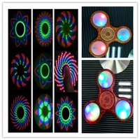 Wholesale Red Tri Beads - Colorful Pot LED Fidget Spinner with 11 LED Beads 18 Patterns CE RoHs Tri-spinner EDS Anti-stress LED Spinners Fidget Spinner Toys in stock