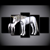 Wholesale free horses painting for sale - Group buy 5 Piece HD Printed Canvas Art Abstract White Horse Painting Wall Pictures for Living Room