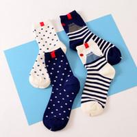 Wholesale Black White Dot Socks - Wholesale- New Arrival Polka Dot Stripe Women Girl Crew Cotton Socks for Autumn Winter Black White Designer Harajuku Tube Sox Novelty
