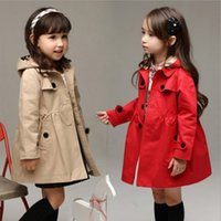 Wholesale Trench Double Coat Red - Baby Girls Double-Breasted Trench Jacket Coat Dress Windbreaker Outwear