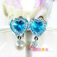 Wholesale Wholesales Clip Baby Earrings - 5Pairs lot Romantic Crystal Children Jewelry Baby Girl Earrings Kids Ear Clip no Piercing Earrings Imitation Pearl Earrings Jewelry H8