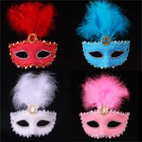 Wholesale Cracking Bar - Women Halloween Crack Cover Party Masks Painted Feather Masquerade Mask Venetian Masks Birthday Bar Party Show Face Masks