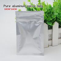 Wholesale powdered aluminium - 10*14cm pure aluminium three side sealing bone bag self sealing powder bag food packing bag Spot 100  package