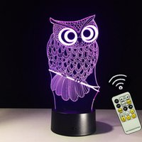 Wholesale Christmas Lights Change Colors - USB Novelty Animal LED 3D Owl Night Light LED 7 Colors Changing Acrylic Bedside Night Light Gift For Children