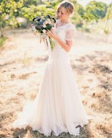 Wholesale Garden Wedding Short - Modest Wedding Dresses 2016 A-Line Chiffon With Short Sleeves V Neck Sweep Length Sash Cheap Simple Spring Garden Wedding Bridal Gowns