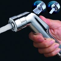 Wholesale Toilet Douche - Bathroom Toilet Dual Functions ABS Bidet Sprayer Hand Held Single Head Chrome Polished Douche Shattaf Diaper Wash Spray Shower Nozzle