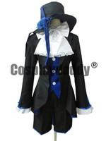 ingrosso costumi cosplay ciel nero cembalo-Outfit + camicia blu del maggiordomo giapponese di Black Butler Ciel Phantomhive