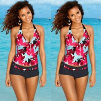 Wholesale Tankini Swimwear Shorts - 2018 women Stripes swimwear push up Tankini Top maillot de bain bathing suit swimsuit plus size shorts bikinis