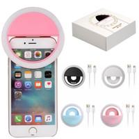 кольцо для смартфонов оптовых-Аккумуляторная Универсальный Смартфон СВЕТОДИОДНАЯ Вспышка Света Up Ehancing Light Selfie Светящийся Телефон Кольцо Для iPhone Для Android