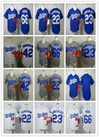 Wholesale Dry Goods - Kids Los Angeles Dodgers Jerseys 22 Clayton Kershaw 42 robinson 66 Puig 23 Adrian Gonzalez Blue White Boys Youth Baseball Shirts Good