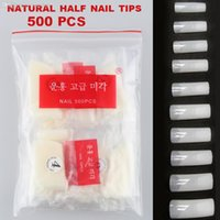 Wholesale Nail Fake French - Wholesale-Y&S 500pcs  lot 10 size Clear  White  Nature Color Full Cover Pre Design Artificial French Art Salon Acrylic Fake Nail Tips