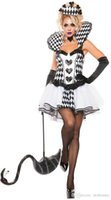 Wholesale Hot Circus - 2017 Hot Summer Halloween new black and white poker queen princess dress the circus clown suit Modern drama dance costume