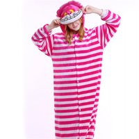 Wholesale Cheshire Cat Onesie Pajamas - Fashion Cheshire Cat Onesies Striped Women Pajamas Set Unisex Cosplay Costume Blue Cown Onesie Men Sleepwear Wholesale MX-015