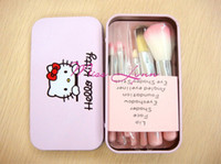Wholesale Wholesale Cartoon Tin Boxes - 3Set Wholesales Hello Kitty Lovely makeup brushes sets of pink cartoon tin box beauty makeup brush 7pieces set