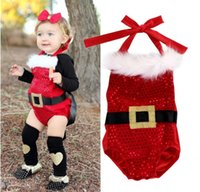 Wholesale Next Dresses - Chirstmas Toddler Romper Suit Dress Baby Clothes New Year Jumpsuit Bubble Onesies Next Kids Leotards Infant Boutique Clothing Santa Claus