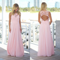 Wholesale Maternity Long Maxi Dress - 2018 Blush Pink Lace Chiffon Beach Bridesmaid Dresses Long Sleeveless Pregnant Jewel Open Back Country Maxi Bridesmaid Dress Under70