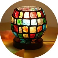 Wholesale Small Desk Lamp Wholesale - Colorful Church Desk Salt Lamp Himalayan European Decorative Small Night Lamp Bedside Bedroom Cozy Creative Nightlights for Home Garden