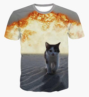 Wholesale Quick Walk - Cartoon cute cat explosion t shirts harajuku kitten walking away from fiery explosion 3d t shirt men women tops funny tee shirts