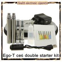 Wholesale Ego Ce6 Double Kit - Top new E Cigarette Ego t ce6 double starter kit with ego battery leather zipper bags ce4 plus evapor kit ce4 plus detachable