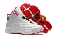 Wholesale Cheap Red Satin Shoes - (With Box) Cheap New Jumpman Air Retro 13 XIII ALL White Red Mens Basketball Shoes Sneakers Running Shoes For Men Sports Shoe Size 40-47