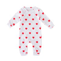 Wholesale Love Cute Baby Boy - Baby loving heart printing onesie toddlers cute red loving heart printed white romper for 0-12M boys girls