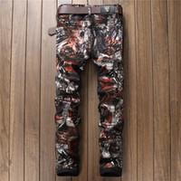 Wholesale Korean Metrosexual Men - New Fashion fanous Brand Fower Print PU Casual Trousers Korean Metrosexual Slim Male Elastic Jeans For Nightclub Show