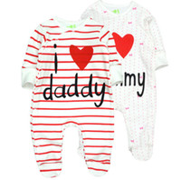 baba bayan elbiselerini seviyorum toptan satış-Bebek Giysileri I Love DaddyMummy 100% Saf Pamuk Bebek Romper Unisex-Bebek Yenidoğan Organik Pamuk (0-12 ay)