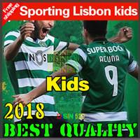 Wholesale Portugal Xl Soccer Jersey - 2018 Sporting Lisbon jersey Kids Set 17 18 Clube de Portugal Sporting Lisbon home kids kit soccer jersey Lisboa Dost RONALDO Football shirt