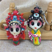 Wholesale Dragonfly Wind - Chengdu features colored arts, three people, beautiful face, Chinese wind key, travel souvenirs abroad