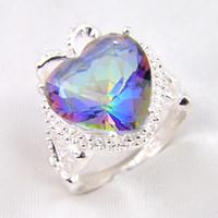 Wholesale Bulk Heart Rings - Time-limited Rushed Bohemian Rings 2pcs lot Bulk Price Christmas Gift 925 Sterling Silver Heart Rainbow Mystic Topaz Gems Ring R0176