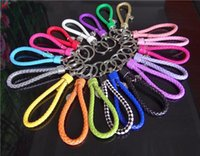 Wholesale Keychain Braided - Wholesale Mixed Braided PU leather Cord keychain Car Key chain auto Carabiner Keyring Women Hand Bag accessories key holder
