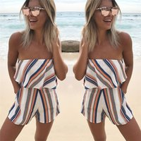 Wholesale colorful rompers - Women Summer Playsuit Strapless Falbala Colorful Stripe Beach Jumpsuit with Pockets Fashion Sexy Off shoulder Playsuit Rompers ONY0280