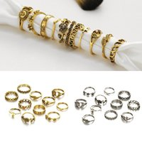 Antique Gold Silver Color Midi Rings Set Hollow Leaf Flower Charms Jóias Sun Moon Star Mulheres Mid Knuckle Dedo Anel 11pcs / set D14S